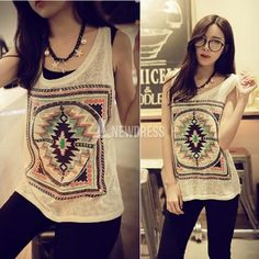New Crewneck Sleeveless Totem Pattern Blouse T-shirt Tank Tops Girl Cute Tees