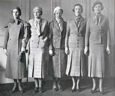 2-piece suits designed by Coco Chanel from the 1930's