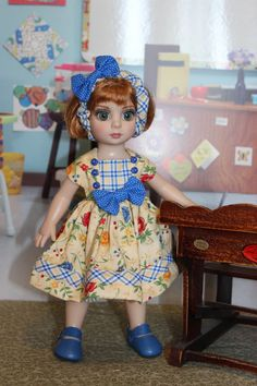 Pretty yellow and blue floral dress for Patsy Tonner or Ann Estelle by Alisewn