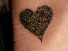 Find more cool fingerprint tattoos here. #inked #Inkedmag #tattoo #Heart #fingerprint #art #love #cute #memory