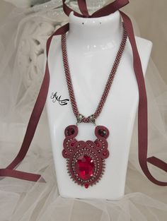 Soutache necklace, handmade necklace, red necklace, crystal necklace, evening necklace, handmade jewelry, handmade gift, sopping online, gift idea, mother gift, gift for her, jewelry gift, evening look, unique jewelry, unique necklace, etsy jewelry, buy jewelry, crochet jewelry, beaded jewelry, beaded necklace, beads necklace, beads jewelry, gift for girlfriend, gift wor women, long necklace, burgundy jewelry, burgundy necklace,statement necklace, burgundy statement necklace, crystal…