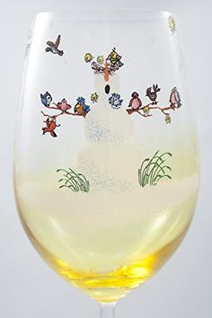 Hand Painted Snowfolks Wine Glass Design Snowman Poses as Winter Wonderland Sanctuary For an Array of Colorful Birds 20 Ounce Golden Amber Glass Large Wine Glass Custom Wine Glass Decorated with Snowflakes -- Click image for more details.