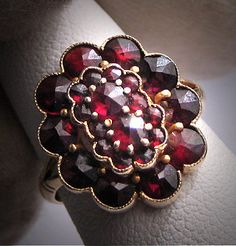 Antique Victorian Bohemian Garnet Ring Vintage Wedding via Etsy Antique Rings, Vintage Rings, Antique Jewelry, Vintage Jewelry, Garnet Jewelry, Garnet Rings, My Birthstone, Victorian Jewelry, Red Garnet