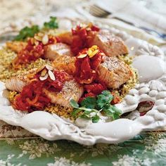 Learn how to make Salmon with Almonds and Tomato-Lemon Sauce. MyRecipes has tested recipes and videos to help you be a better cook. Fun Cooking, Healthy Cooking, Healthy Eating, Cooking Recipes, Cooking Stuff, Slow Roasted Tomatoes, Broccoli Recipes, Salmon Recipes, Seafood Recipes