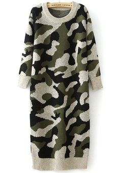 Shop Green Long Sleeve Camouflage Knit Sweater Dress online. Sheinside offers Green Long Sleeve Camouflage Knit Sweater Dress & more to fit your fashionable needs. Free Shipping Worldwide!