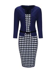 Plaid Fake Two-Piece Elegant Office Bodycon Dress