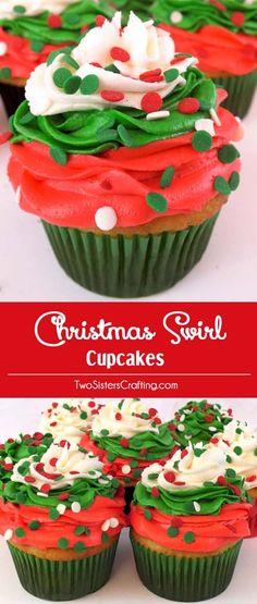 christmas cupcakes Christmas Swirl Cupcakes - a beautiful Christmas Cupcake for your holiday parties. Christmas Desserts never looked so good. us for more great Christmas Treats ideas. Holiday Cupcakes, Holiday Desserts, Holiday Baking, Christmas Baking, Holiday Treats, Holiday Recipes, Holiday Parties, Christmas Cupcakes Decoration, Party Desserts