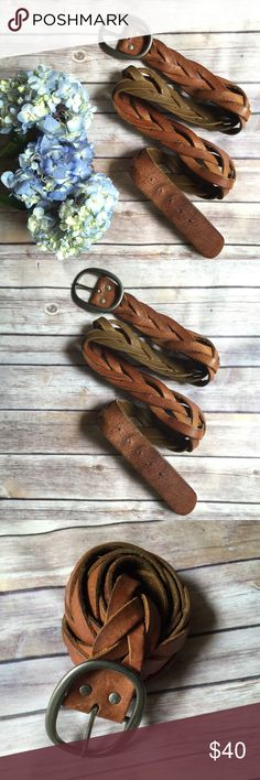 """$25⚡️FLASH SALE⚡️XL AEO Tan Woven Leather Belt American Eagle Outfitters tan woven leather belt. Belt is 47"""" in length 39"""" to first belt loop 43"""" to last belt loop. Size XL American Eagle Outfitters Accessories Belts"""