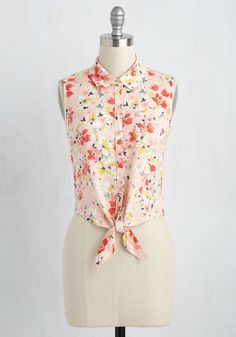 Wildflower Walk Top in Rose. Swoon over natures work while looking divine yourself, wearing the bright flowers painted on this peachy pink tank top. #multi #modcloth