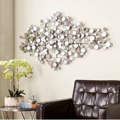 Wall+Metal+Art+Modern+Abstract+Decor+Home+Silver+Mirror+Sculpture+Large+Hanging+#Modern