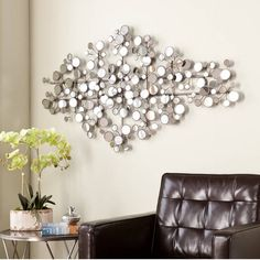 Wall+Metal+Art+Modern+Abstract+Decor+Home+Silver+Mirror+Sculpture+Large+Hanging+#Modern