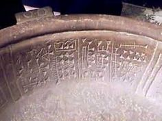 Bowl found near Puma Punku, Peru, Andes. (The writing is a form of pre-Sumerian Cuniform, and predates the Sumerian Culture by 1000 years, and the Middle East is halfway around the world from Peru, how did it get there? Ancient Aliens?)