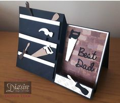 """Claire Murphy - Crafter's Companion - Sara Davies' Signature Collection Just for Men - Dies: Male sentiments """"Best Dad"""", Tool Set - Folders: Checkerplate - Paper pad: Urban collection - Matt Black card - Collall All Purpose and 3D Glue Gel - #crafterscompanion"""