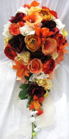Fall Cascading Bridal Bouquet Orange Yellow Burgundy Callas Roses Rununculus And Orchids Made Of Silk