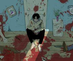 Anime boy, blood, room, knife, black hair; Anime Guys