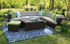Canyon Sectional | AE Outdoor | Not Your Grandma's Patio Furniture | Sunbrella Fabric | All-Weather Wicker |