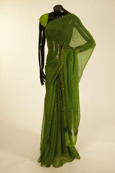 chiffon art silk dark olive green light parrot green saree with blouse