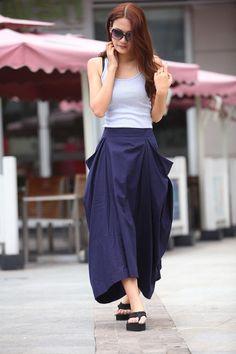 Lagenlook Maxi Skirt Big Pockets Big Sweep Long by Sophiaclothing