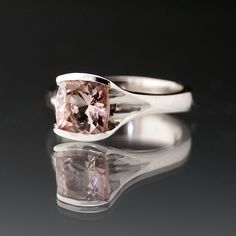 Pink Tourmaline Engagement Ring Solitaire Antique Cushion in  Silver/palladium. $355.00, via Etsy.