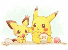 Aww adorbs pichu and pikachu~ - Pokemon Pichu Pikachu Raichu, Cute Pikachu, Pikachu Pikachu, Mudkip, Solgaleo Pokemon, Pokemon Fan Art, Pokemon Fusion, Pokemon Cards, Pokémon Kawaii