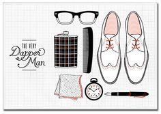 Dapper Man Illustration by Elaine Fong Dapper Gentleman, Dapper Men, Love Illustration, Graphic Design Illustration, Dandy, Girly, The Design Files, Design Graphique, Well Dressed Men