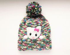 Knit Girls Hat Kids Winter Hat Beanie Hat Mouse Hat by 2mice