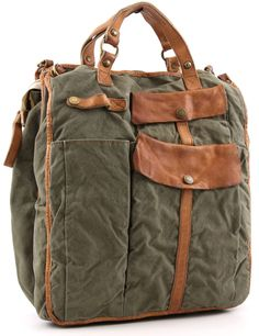 Gorgeous leather and canvas satchel...want.