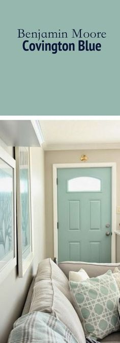 The perfect paint color for your front door. Inside or outside. Benjamin Moore Covington Blue #PaintedFrontDoor #CovingtonBlue
