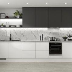 Luxury Kitchen Design, Kitchen Room Design, Contemporary Kitchen Design, Home Decor Kitchen, Interior Design Kitchen, Home Design, Kitchen Ideas, Modern Contemporary, Country Kitchen