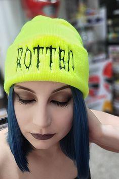 Rotten Neon Beanie, Alt style, Grunge Accessory Funky Fashion, Dark Fashion, Grunge Fashion, Gothic Fashion, Unique Fashion, Boho Fashion, Alternative Fashion Grunge, Grunge Accessories, Rotten