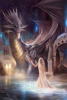 Fantasy Magical Creatures Dragons And Unicorns Art Dark Fantasy Art, Fantasy Artwork, Fantasy World, Fantasy Love, Beautiful Fantasy Art, Cool Dragons, Dragon Artwork, Dragon Drawings, Dragon Pictures