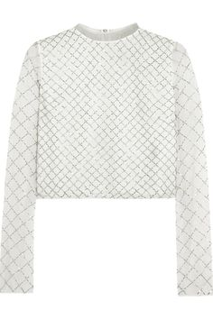 NEEDLE & THREAD Grid Bead-Embellished Chiffon Top. #needlethread #cloth #top