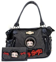 9a5ae28b846 Amazon.com  Betty Boop Black Crinkle Faux Leather Rhinestone Detailed  Handbag   Wallet Set  Clothing GREAT GIFT IDEA!