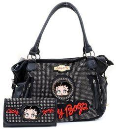 Amazon.com: Betty Boop Black Crinkle Faux Leather Rhinestone Detailed Handbag & Wallet Set: Clothing GREAT GIFT IDEA!