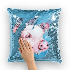 Sequin Cushion, Sequin Pillow, Piggly Wiggly, Pot Belly Pigs, Farm Paintings, Pig Art, Decorating Your Home, Decorating Tips, Mermaid Sequin
