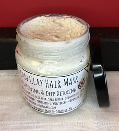 Raw. Organic. Vegan. Handmade. Fresh For Deep Conditioning & Deep Detoxing. Apply mask to damp hair and massage into scalp and hair. Let mask set for 10-15 minutes then rinse hair thoroughly. Organic Ingredients: Moroccan Clay, Aloe Vera, Shea Butter, Coconut Oil, Cocoa Butter, (Tea Tree, Lavender, Rosemary, Peppermint, Wintergreen Essential Oils.)