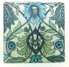 William de Morgan tile, painted in blues and - by Eastbourne Auction Rooms