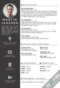 Creative cv template in MS Word. Including matching cover letter template. Fully editable files. https://gosumo-cvtemplate.com/product/cv-template-zurich/
