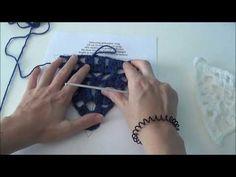 Vlaggetje haken met afwisselend vasten/stokjes - YouTube