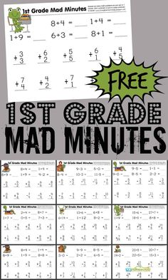 FREE 1st Grade Printable Math Worksheets & First Grade Mad Minutes!