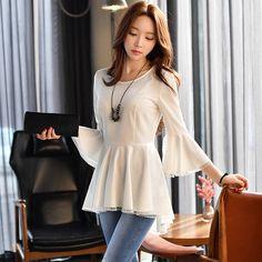 Original 2017 Brand Shirt Plus Size Flare Sleeve Slim Waist Elegant Casual White Ruffled Hem Blouse Women Wholesale