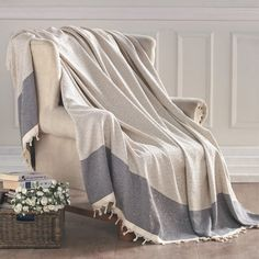 "Features:  -100% Turkish cotton.  -Get cozy and warm with this soft and fluffy throw.  Size: -Throw.  Material: -Cotton.  Theme: -Nautical. Dimensions:  Overall Length - Top to Bottom: -95"".  Overall"