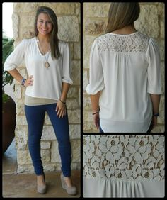 Ivory Lace Back Top $39