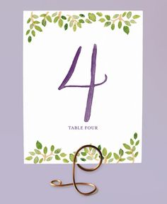 Printable Table Numbers - Watercolor Leaves - by Leveret Paperie