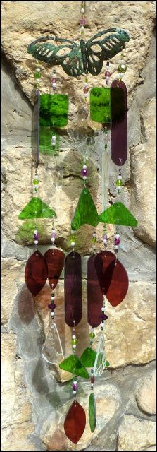 "Butterfly Design Stained Glass Windchime - Light Green - Purple - Clear Crackle Glass - 31"" long - $149.95 - Stained Glass Sun Catchers, Stained Glass Wind Chimes, Handcrafted Stained Glass Designs, Suncatchers - From Accent on Glass - www.AccentonGlass.com"