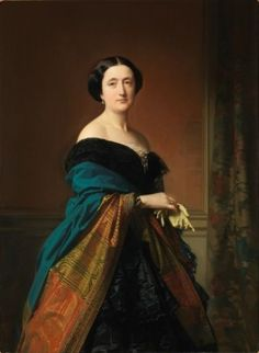 1856 Saturnina Canaleta de Girona, wife of Jaime Count of Eleta by Federico de Madrazo y Kuntz (Museo Nacional del Prado - Madrid, Spain). From their Web site; removed spots with Photoshop and filled in shadows and increased exposure. 1850s Fashion, Edwardian Fashion, Hieronymus Bosch, Old Paintings, Romantic Paintings, Portrait Paintings, Empire Style, Portraits, Historical Clothing