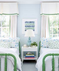 blue and green, twin beds Home Bedroom, Girls Bedroom, Bedroom Decor, Twin Bedroom Ideas, Serene Bedroom, Bedroom Colors, Boy Room, Kids Room, Childrens Room