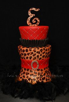 Cake fit for a Diva red and black. Cheetah print