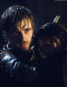 Robin carrying Marian, BBC Robin Hood.  Ahhhhh, Robin and Marian!!!