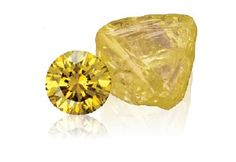 Round cut yellow diamond and rough yellow diamond -Natural fancy yellow diamonds, also known as canary diamonds, are the most popular color of all fancy colors. Although white diamonds are graded on a D to Z color scale, the X-Y-Z end actually marks the beginning of the fancy yellow scale. Fancy yellow diamonds are highly regarded for their vivid color and unique features. The secondary colors or overtones found in fancy yellow diamonds are green, orange and brown.